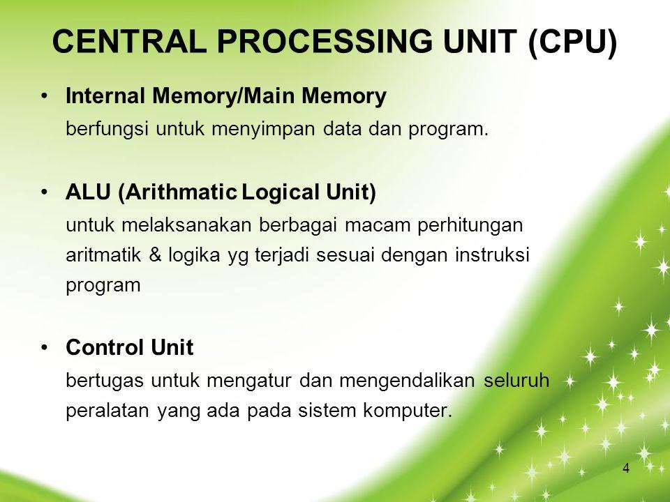 CENTRAL PROCESSING UNIT (CPU) Internal Memory/Main Memory berfungsi untuk menyimpan data dan program. ALU (Arithmatic Logical Unit) untuk melaksanakan
