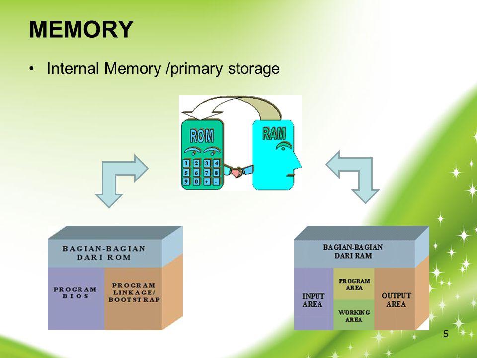 MEMORY Internal Memory /primary storage 5