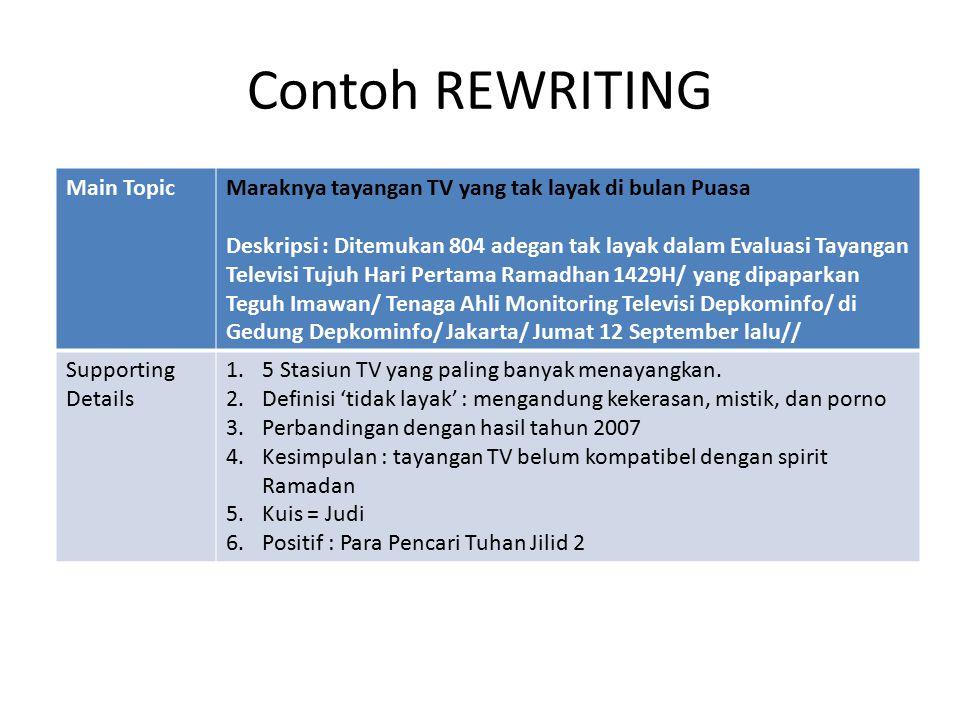 Contoh REWRITING Main TopicMaraknya tayangan TV yang tak layak di bulan Puasa Deskripsi : Ditemukan 804 adegan tak layak dalam Evaluasi Tayangan Televisi Tujuh Hari Pertama Ramadhan 1429H/ yang dipaparkan Teguh Imawan/ Tenaga Ahli Monitoring Televisi Depkominfo/ di Gedung Depkominfo/ Jakarta/ Jumat 12 September lalu// Supporting Details 1.5 Stasiun TV yang paling banyak menayangkan.