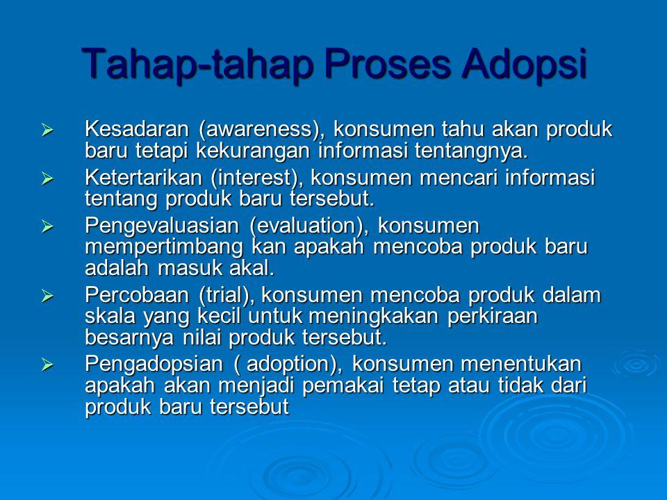 Tahap-tahap Proses Adopsi  Kesadaran (awareness), konsumen tahu akan produk baru tetapi kekurangan informasi tentangnya.  Ketertarikan (interest), k