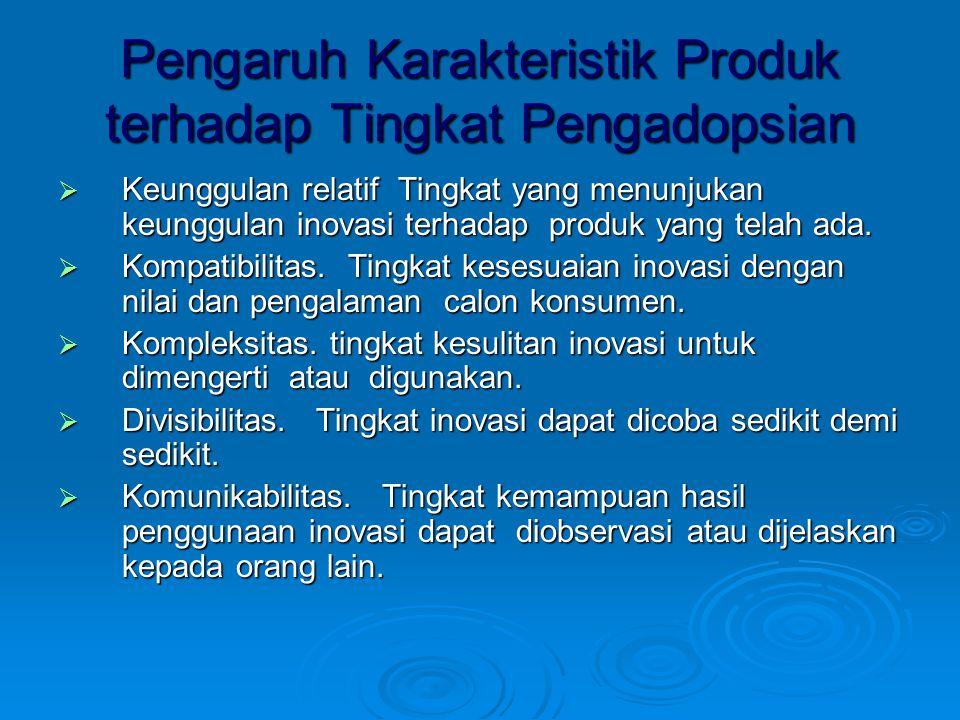 Pengaruh Karakteristik Produk terhadap Tingkat Pengadopsian  Keunggulan relatif Tingkat yang menunjukan keunggulan inovasi terhadap produk yang telah