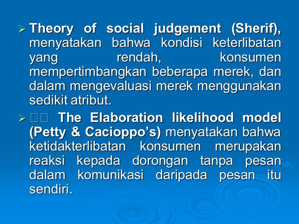  Theory of social judgement (Sherif), menyatakan bahwa kondisi keterlibatan yang rendah, konsumen mempertimbangkan beberapa merek, dan dalam mengeval