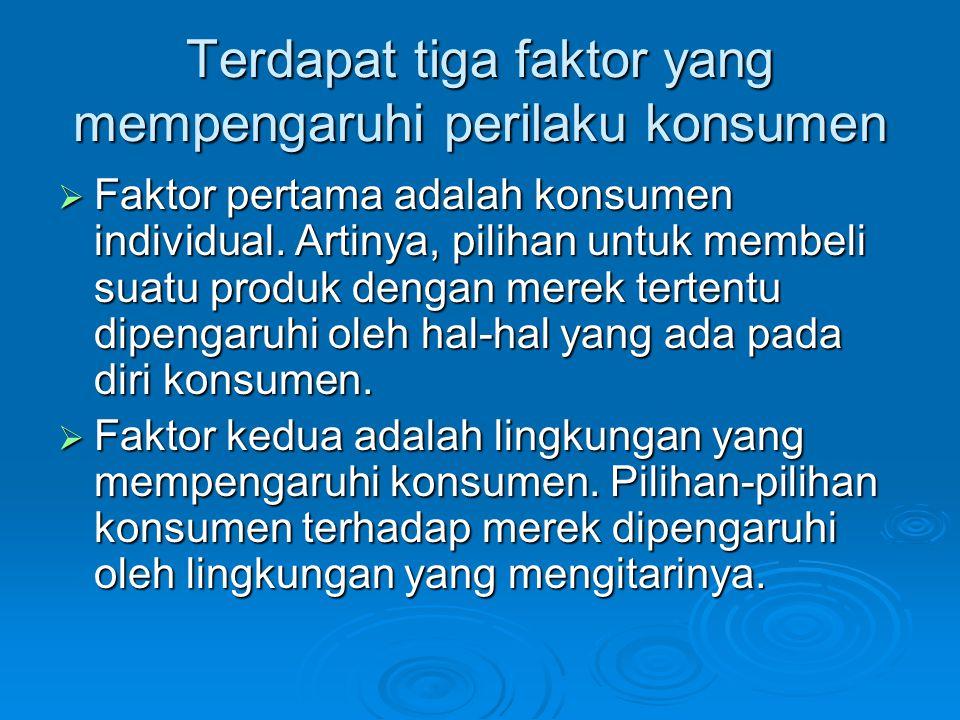 Terdapat tiga faktor yang mempengaruhi perilaku konsumen  Faktor pertama adalah konsumen individual. Artinya, pilihan untuk membeli suatu produk deng