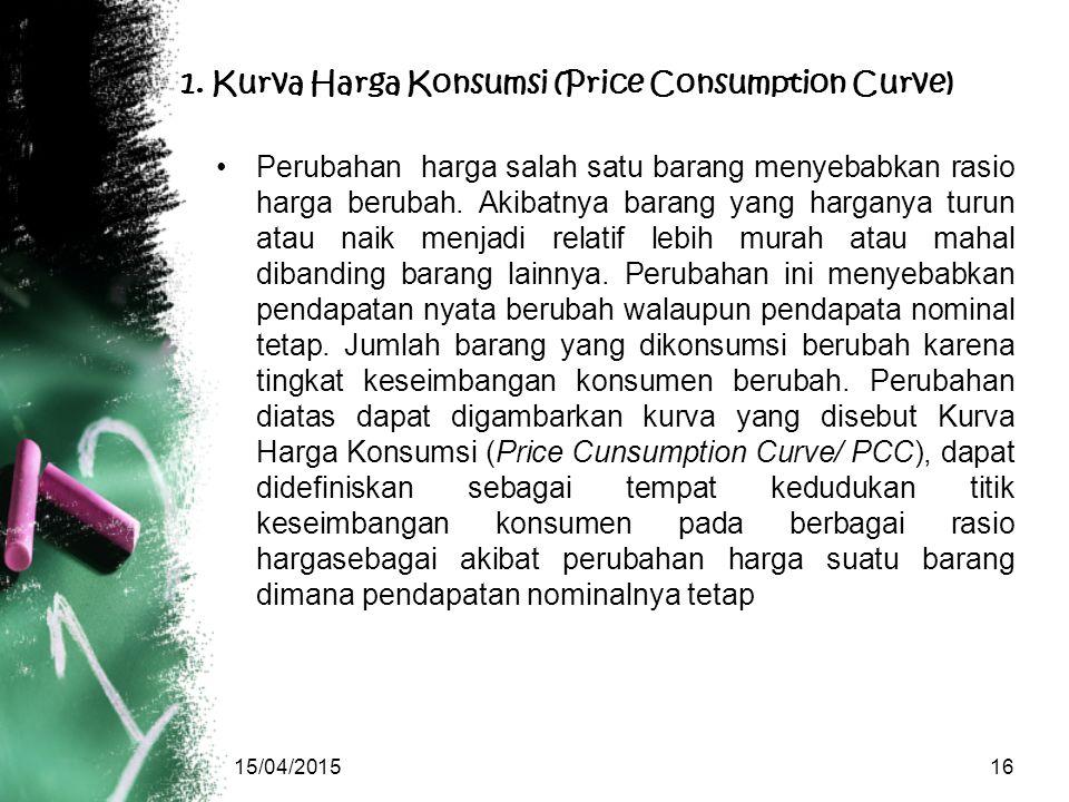 1. Kurva Harga Konsumsi (Price Consumption Curve) Perubahan harga salah satu barang menyebabkan rasio harga berubah. Akibatnya barang yang harganya tu