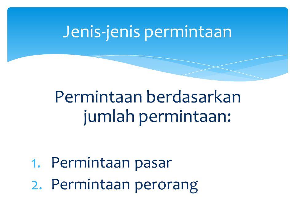 Permintaan berdasarkan jumlah permintaan: 1.Permintaan pasar 2.Permintaan perorang Jenis-jenis permintaan