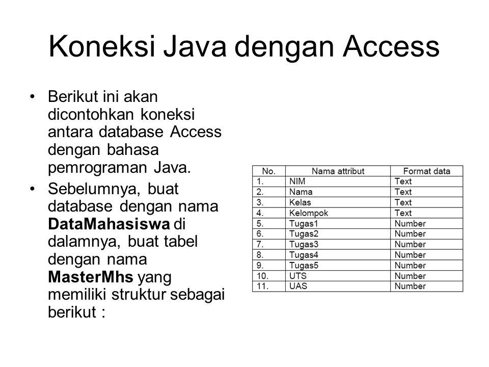 Koneksi Java dengan Access Berikut ini akan dicontohkan koneksi antara database Access dengan bahasa pemrograman Java.