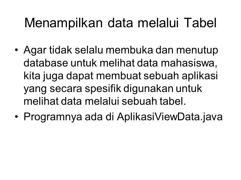 Menampilkan data melalui Tabel Agar tidak selalu membuka dan menutup database untuk melihat data mahasiswa, kita juga dapat membuat sebuah aplikasi yang secara spesifik digunakan untuk melihat data melalui sebuah tabel.
