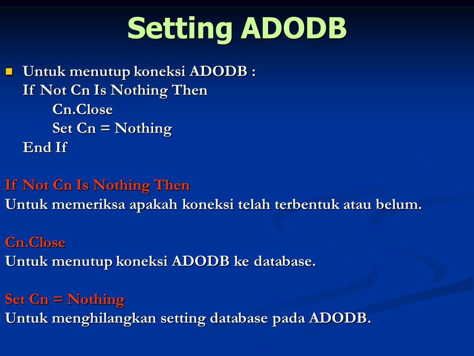 Adodc Vs Adodb Metode Insert / AddNew Metode Insert / AddNew Adodc AdodcAdodc1.Recordset.AddNew Adodc1.Recordset.Fields( Field1 ) = Text1.Text.Adodc1.Recordset.UpdateAdodc1.Refresh Adodb Adodb Dim Rs As Adodb.Recordset Set Rs = New Adodb.Recordset Rs.Open Query ,[Active Connection],adOpenDynamic,adLockOptimistic Rs.AddNew Rs( Field1 ) = Text1.Text.Rs.UpdateRs.Close Set Rs = Nothing