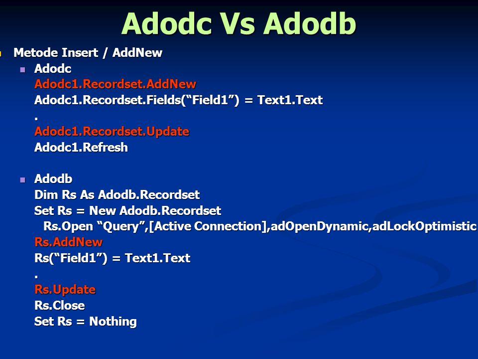 Adodc Vs Adodb Metode Update Metode Update Adodc Adodc Adodc1.RecordSource = [Query] Adodc1.Refresh If Not Adodc1.Recordset.EOF Then Adodc1.Recordset.Fields( Field1 ) = Text1.Text.Adodc1.Recordset.Update End If Adodc1.Refresh Adodb Adodb Dim Rs As Adodb.Recordset Set Rs = New Adodb.Recordset Rs.Open [Query],[Active Connection],adOpenDynamic,adLockOptimistic Rs.Open [Query],[Active Connection],adOpenDynamic,adLockOptimistic If Not Rs.EOF Then Rs( Field1 ) = Text1.Text.Rs.Update End If Rs.Close Set Rs = Nothing