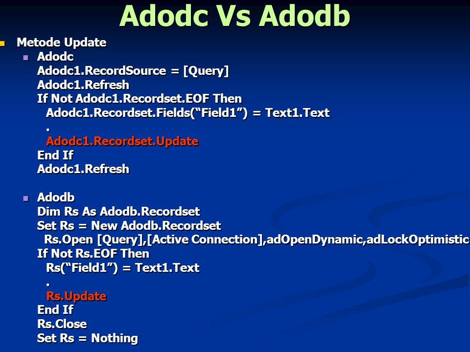 Adodc Vs Adodb Metode Delete Metode Delete Adodc Adodc Adodc1.RecordSource = [Query] Adodc1.Refresh If Not Adodc1.Recordset.EOF Then Text1.Text = Adodc1.Recordset.Fields( Field1 ).Data1.Recordset.Delete End If Adodb Adodb Dim Rs As Adodb.Recordset Set Rs = New Adodb.Recordset Rs.Open [Query],[Active Connection],adOpenDynamic,adLockOptimistic Rs.Open [Query],[Active Connection],adOpenDynamic,adLockOptimistic If Not Rs.EOF then Text1.Text = Rs( Field1 ).Rs.Delete End If Rs.Close Set Rs = Nothing
