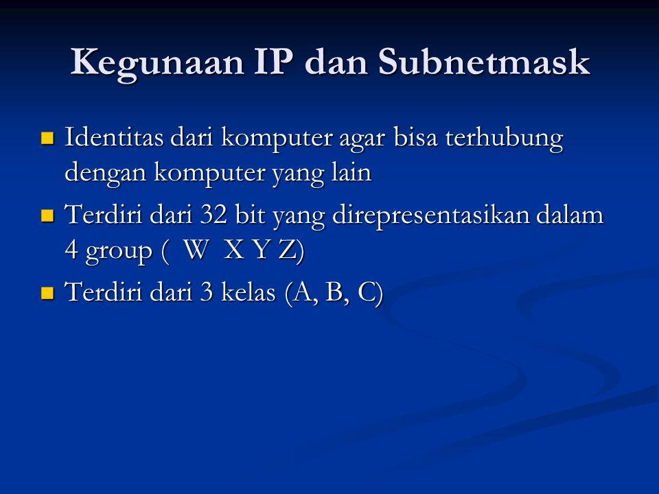 Kegunaan IP dan Subnetmask Identitas dari komputer agar bisa terhubung dengan komputer yang lain Identitas dari komputer agar bisa terhubung dengan komputer yang lain Terdiri dari 32 bit yang direpresentasikan dalam 4 group ( W X Y Z) Terdiri dari 32 bit yang direpresentasikan dalam 4 group ( W X Y Z) Terdiri dari 3 kelas (A, B, C) Terdiri dari 3 kelas (A, B, C)