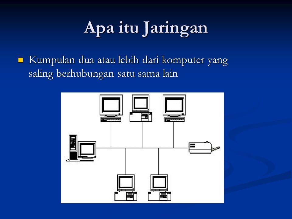 Apa itu Jaringan Kumpulan dua atau lebih dari komputer yang saling berhubungan satu sama lain Kumpulan dua atau lebih dari komputer yang saling berhubungan satu sama lain