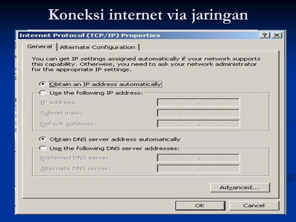 Koneksi internet via jaringan