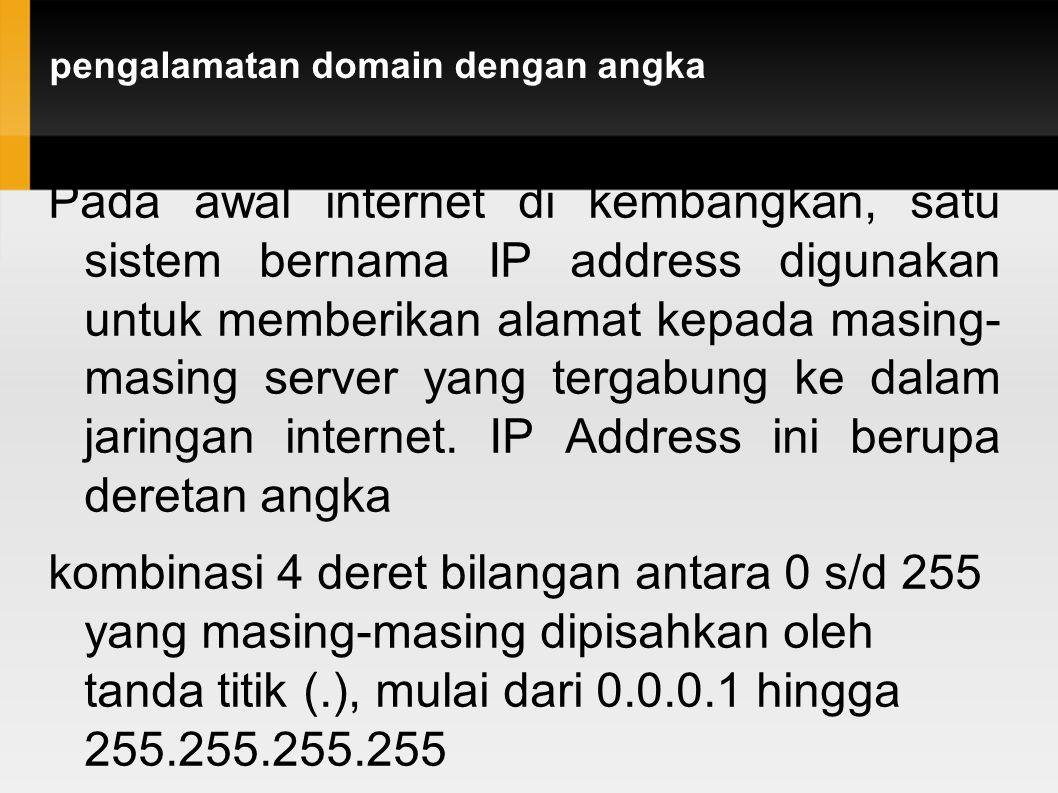 pengalamatan domain dengan angka Pada awal internet di kembangkan, satu sistem bernama IP address digunakan untuk memberikan alamat kepada masing- mas