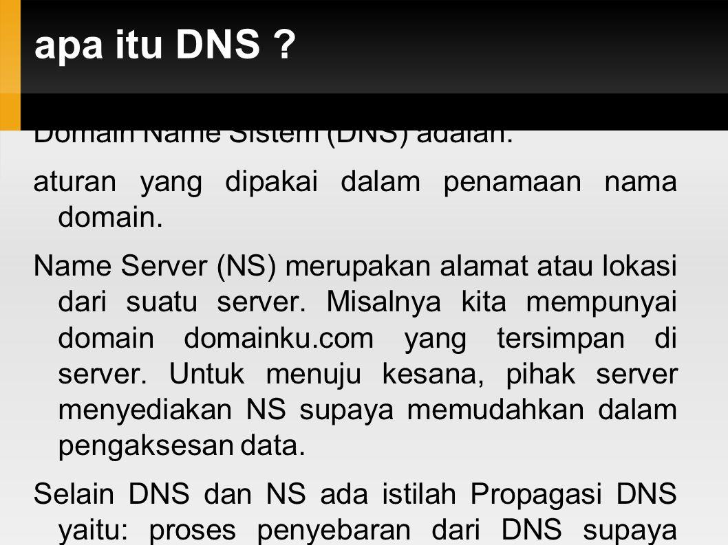 apa itu DNS ? Domain Name Sistem (DNS) adalah: aturan yang dipakai dalam penamaan nama domain. Name Server (NS) merupakan alamat atau lokasi dari suat