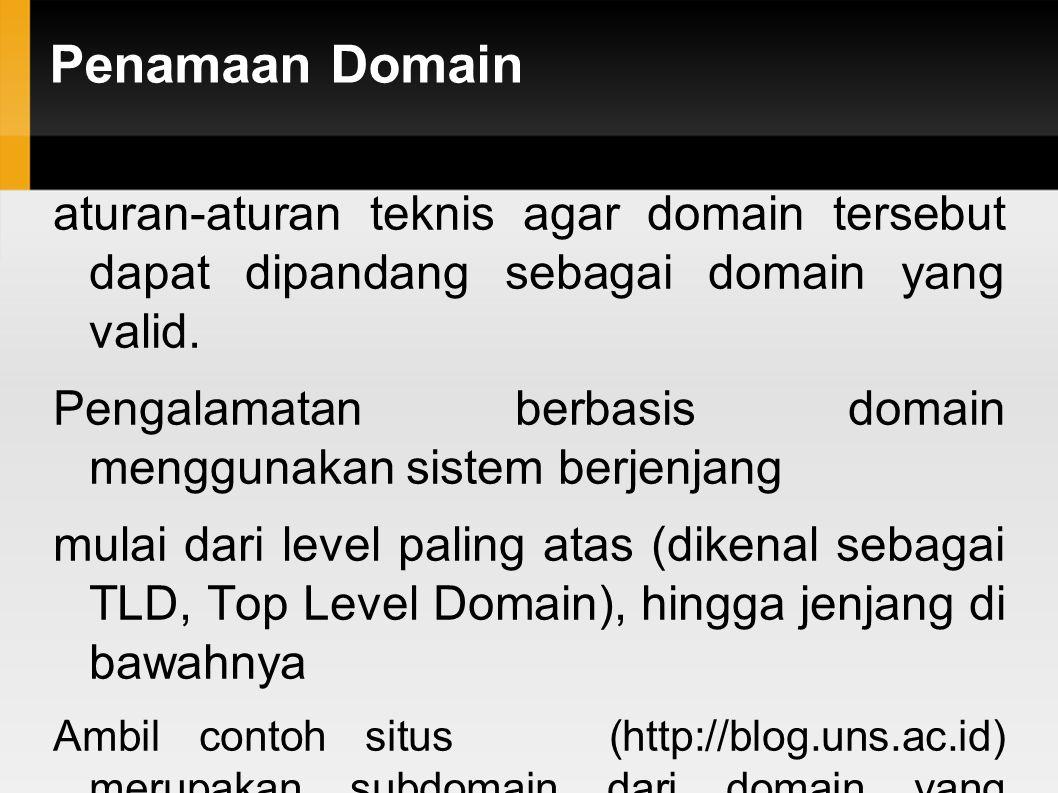 Penamaan Domain aturan-aturan teknis agar domain tersebut dapat dipandang sebagai domain yang valid. Pengalamatan berbasis domain menggunakan sistem b