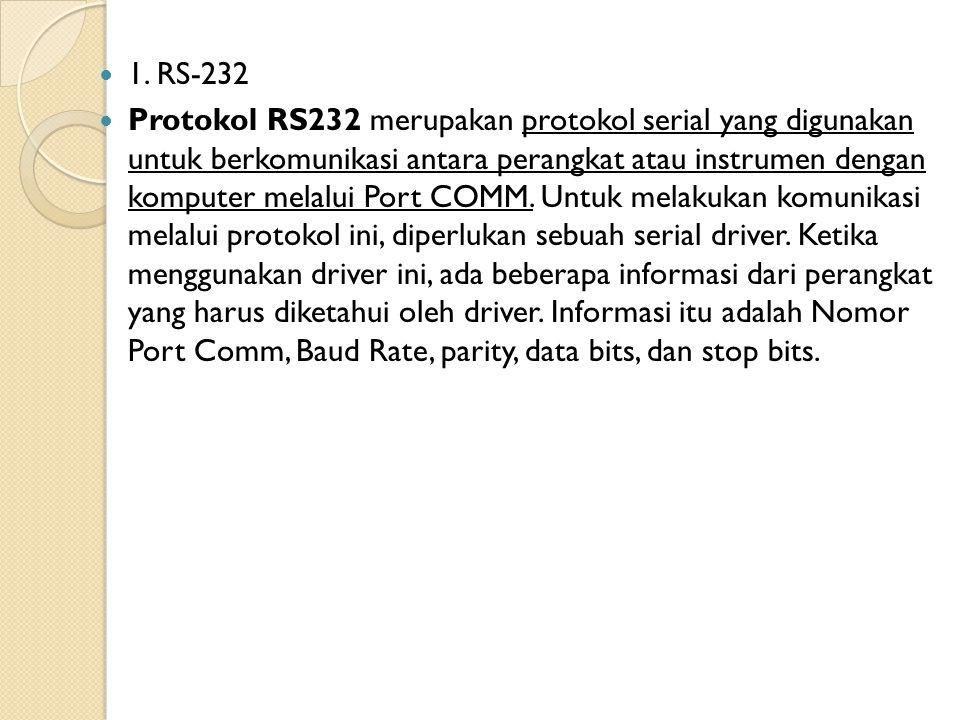 1. RS-232 Protokol RS232 merupakan protokol serial yang digunakan untuk berkomunikasi antara perangkat atau instrumen dengan komputer melalui Port COM