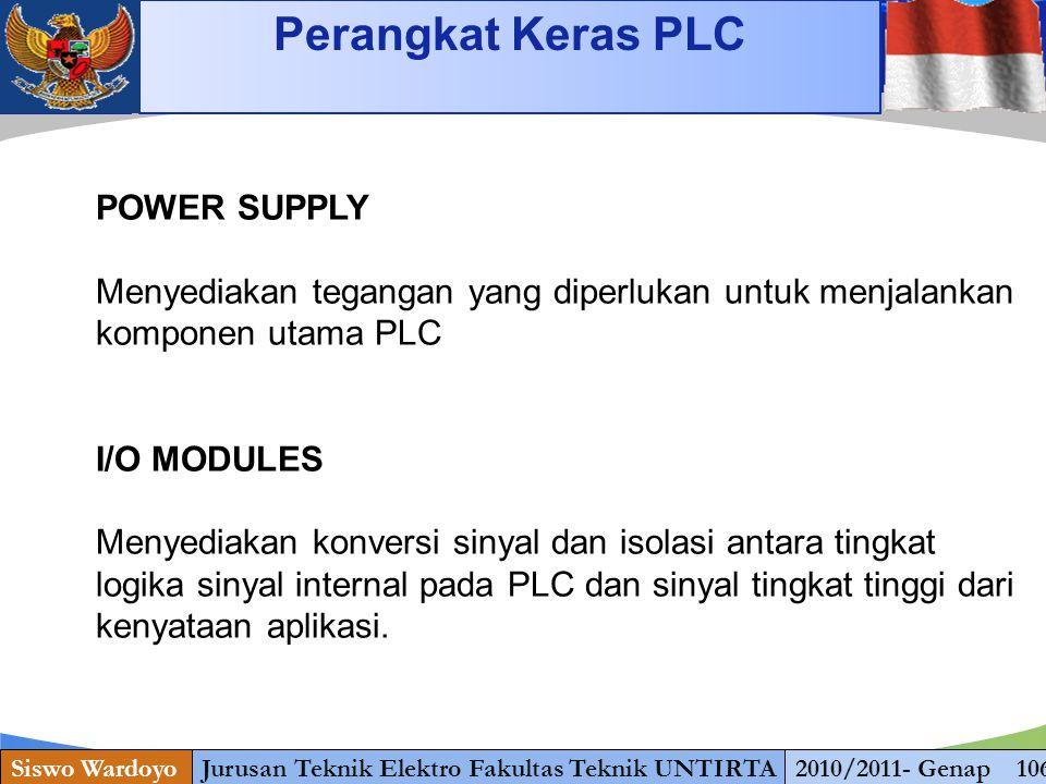 www.themegallery.com Stopping Perangkat Keras PLC Siswo WardoyoJurusan Teknik Elektro Fakultas Teknik UNTIRTA2010/2011- Genap 106 POWER SUPPLY Menyedi