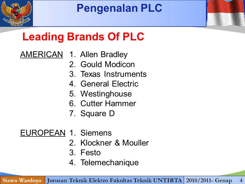 www.themegallery.com Pengenalan PLC Siswo WardoyoJurusan Teknik Elektro Fakultas Teknik UNTIRTA2010/2011- Genap 4 Leading Brands Of PLC AMERICAN1. All