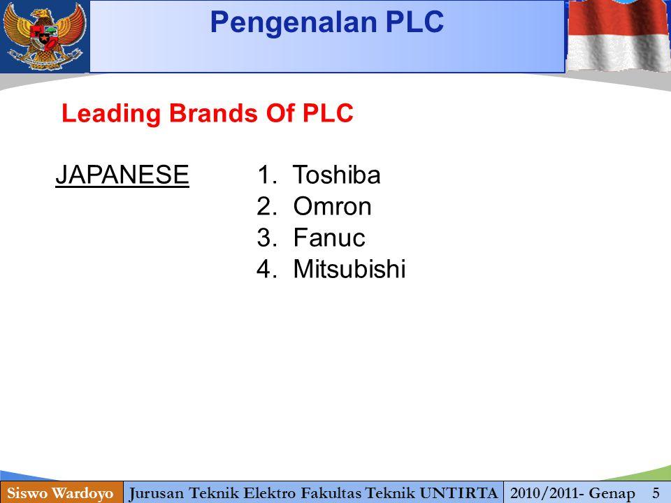 www.themegallery.com Starting Pengenalan PLC Siswo WardoyoJurusan Teknik Elektro Fakultas Teknik UNTIRTA2010/2011- Genap 5 Leading Brands Of PLC JAPAN