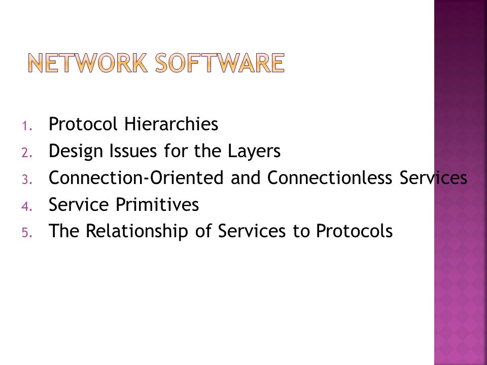 1. Protocol Hierarchies 2. Design Issues for the Layers 3. Connection-Oriented and Connectionless Services 4. Service Primitives 5. The Relationship o