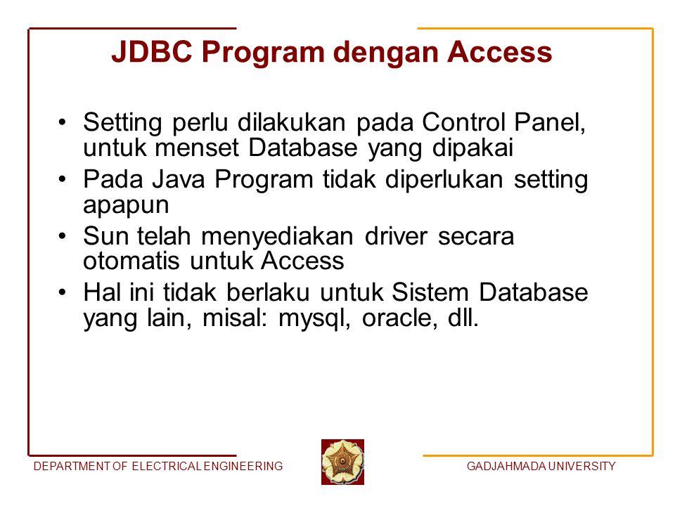 DEPARTMENT OF ELECTRICAL ENGINEERINGGADJAHMADA UNIVERSITY JDBC Program dengan Access Setting perlu dilakukan pada Control Panel, untuk menset Database