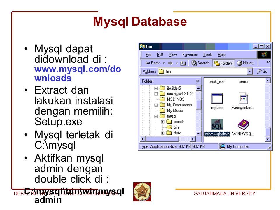 DEPARTMENT OF ELECTRICAL ENGINEERINGGADJAHMADA UNIVERSITY Mysql Database Mysql dapat didownload di : www.mysql.com/do wnloads Extract dan lakukan inst