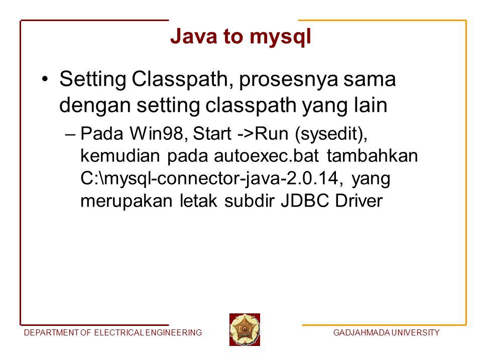 DEPARTMENT OF ELECTRICAL ENGINEERINGGADJAHMADA UNIVERSITY Java to mysql Setting Classpath, prosesnya sama dengan setting classpath yang lain –Pada Win