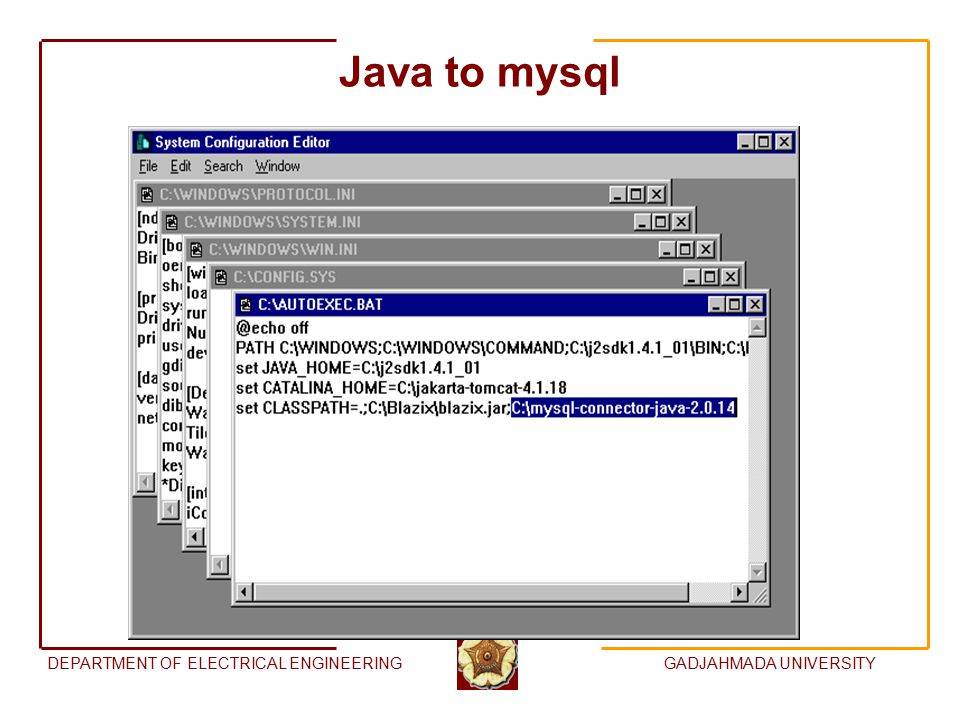DEPARTMENT OF ELECTRICAL ENGINEERINGGADJAHMADA UNIVERSITY Java to mysql