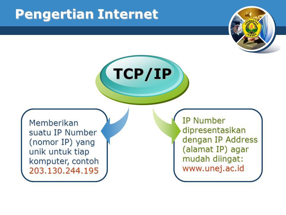 Memberikan suatu IP Number (nomor IP) yang unik untuk tiap komputer, contoh 203.130.244.195 IP Number dipresentasikan dengan IP Address (alamat IP) ag