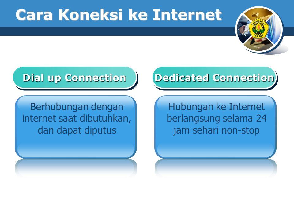 Cara Koneksi ke Internet Dial up Connection Berhubungan dengan internet saat dibutuhkan, dan dapat diputus Dedicated Connection Hubungan ke Internet b