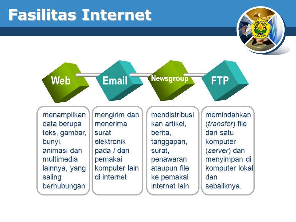 Fasilitas Internet WebEmail Newsgroup FTP menampilkan data berupa teks, gambar, bunyi, animasi dan multimedia lainnya, yang saling berhubungan meminda