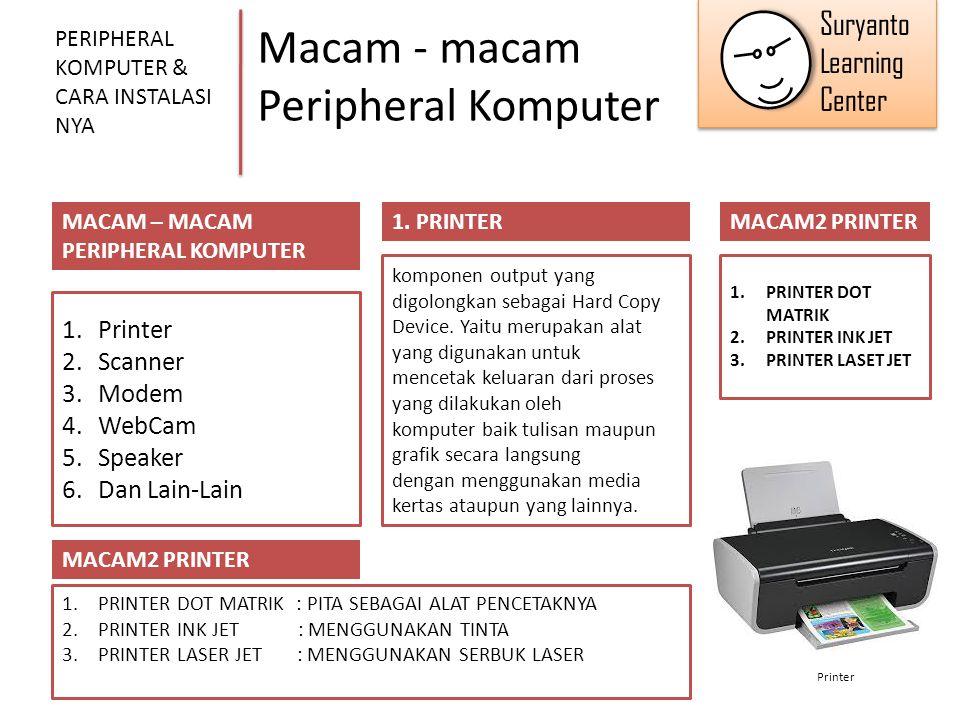 Macam - macam Peripheral Komputer PERIPHERAL KOMPUTER & CARA INSTALASI NYA MACAM – MACAM PERIPHERAL KOMPUTER 1.Printer 2.Scanner 3.Modem 4.WebCam 5.Sp