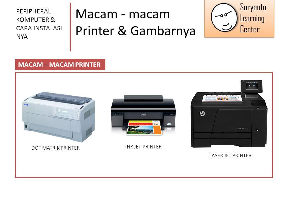 Macam - macam Printer & Gambarnya PERIPHERAL KOMPUTER & CARA INSTALASI NYA MACAM – MACAM PRINTER DOT MATRIK PRINTER INK JET PRINTER LASER JET PRINTER