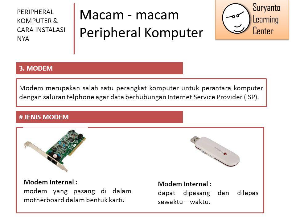 Macam - macam Peripheral Komputer PERIPHERAL KOMPUTER & CARA INSTALASI NYA 3. MODEM Modem merupakan salah satu perangkat komputer untuk perantara komp