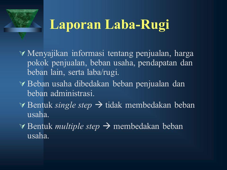 Laporan Laba-Rugi  Menyajikan informasi tentang penjualan, harga pokok penjualan, beban usaha, pendapatan dan beban lain, serta laba/rugi.  Beban us