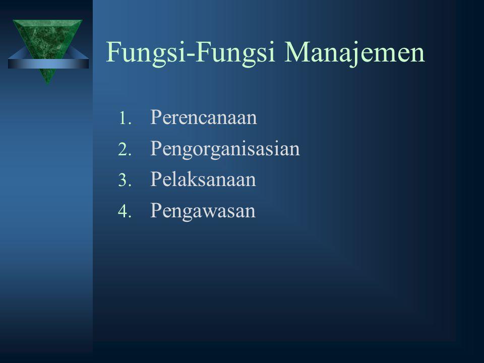 Fungsi-Fungsi Manajemen 1. Perencanaan 2. Pengorganisasian 3. Pelaksanaan 4. Pengawasan