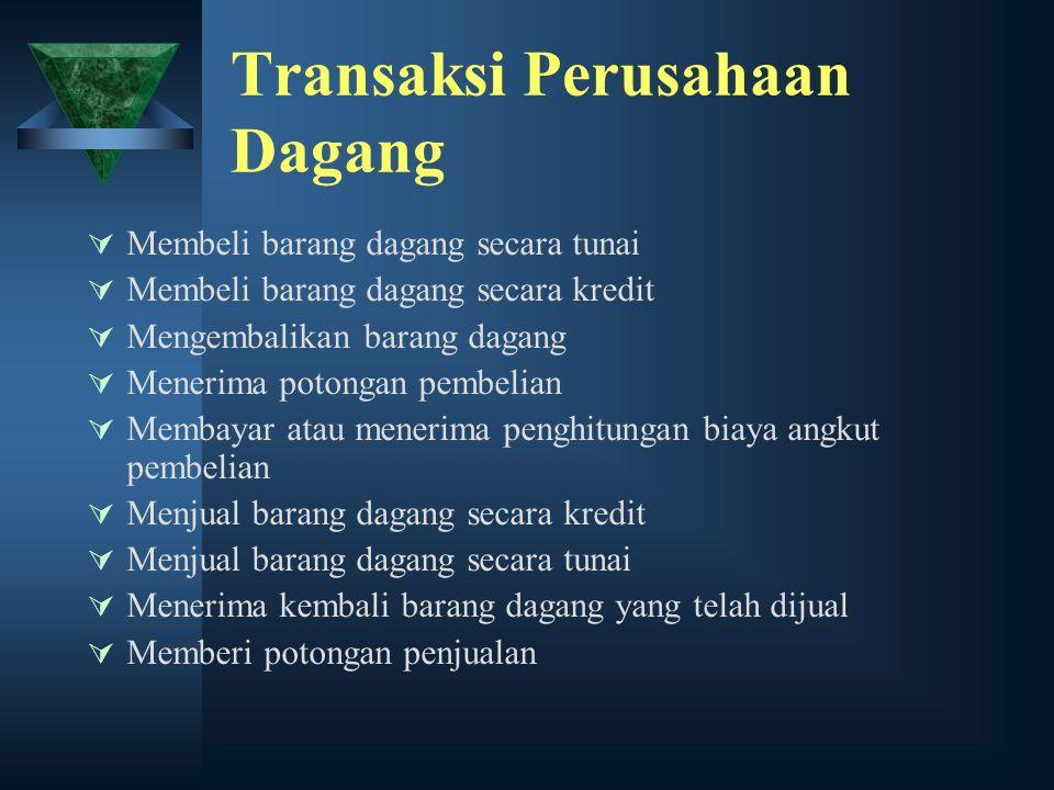 Transaksi Perusahaan Dagang  Membeli barang dagang secara tunai  Membeli barang dagang secara kredit  Mengembalikan barang dagang  Menerima potong