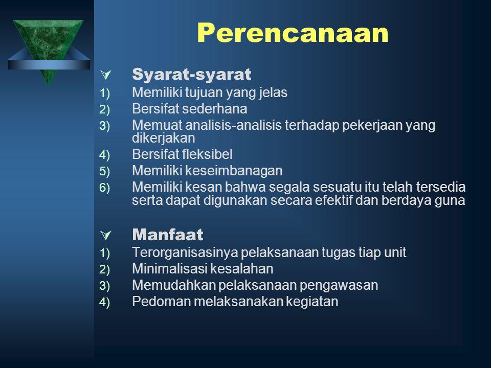 Perencanaan  Syarat-syarat 1) Memiliki tujuan yang jelas 2) Bersifat sederhana 3) Memuat analisis-analisis terhadap pekerjaan yang dikerjakan 4) Bers