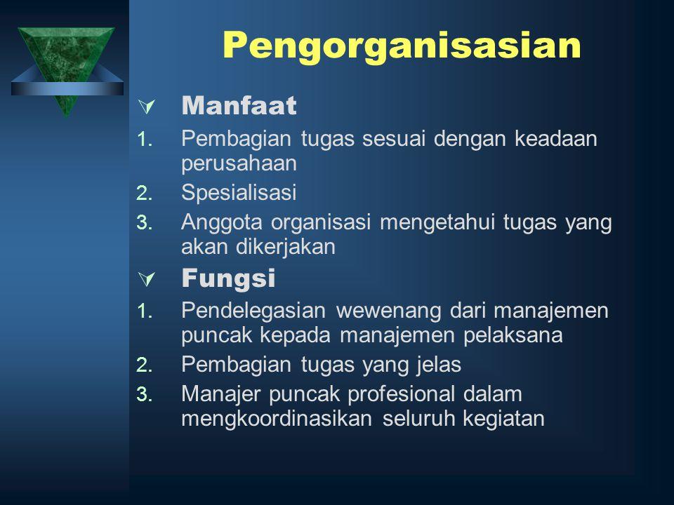 Pengorganisasian  Manfaat 1. Pembagian tugas sesuai dengan keadaan perusahaan 2. Spesialisasi 3. Anggota organisasi mengetahui tugas yang akan dikerj