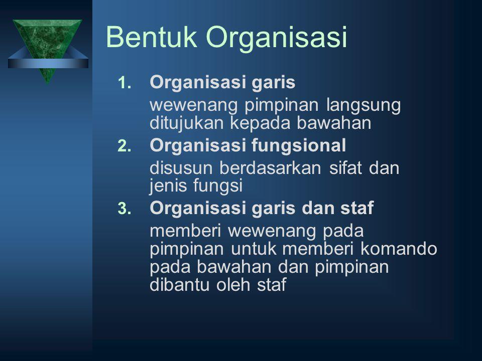 Bentuk Organisasi 1. Organisasi garis wewenang pimpinan langsung ditujukan kepada bawahan 2. Organisasi fungsional disusun berdasarkan sifat dan jenis