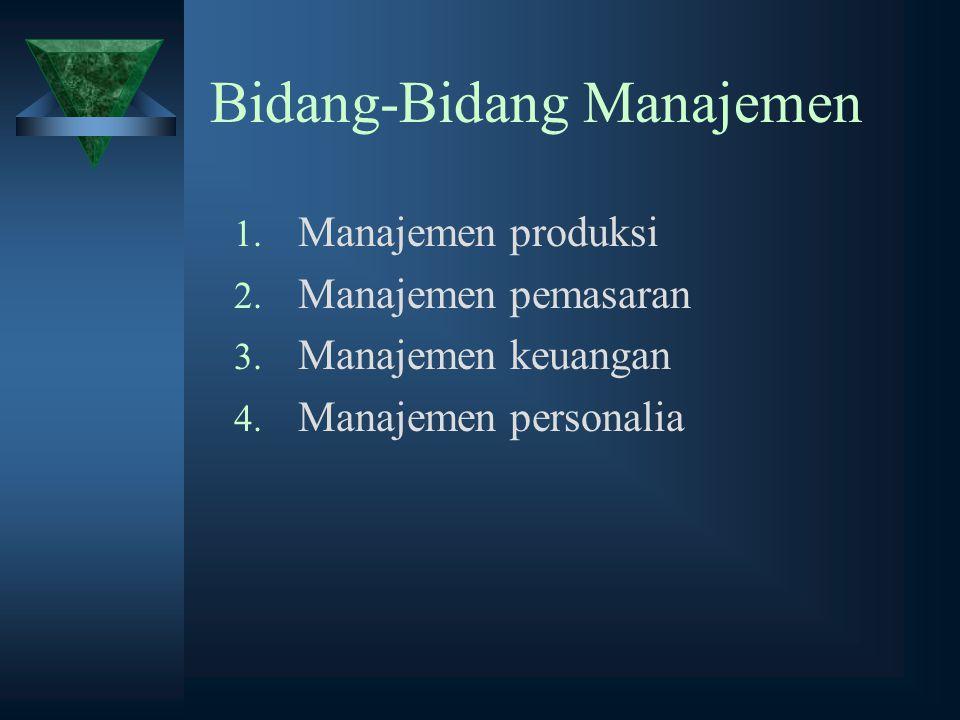 Bidang-Bidang Manajemen 1. Manajemen produksi 2. Manajemen pemasaran 3. Manajemen keuangan 4. Manajemen personalia