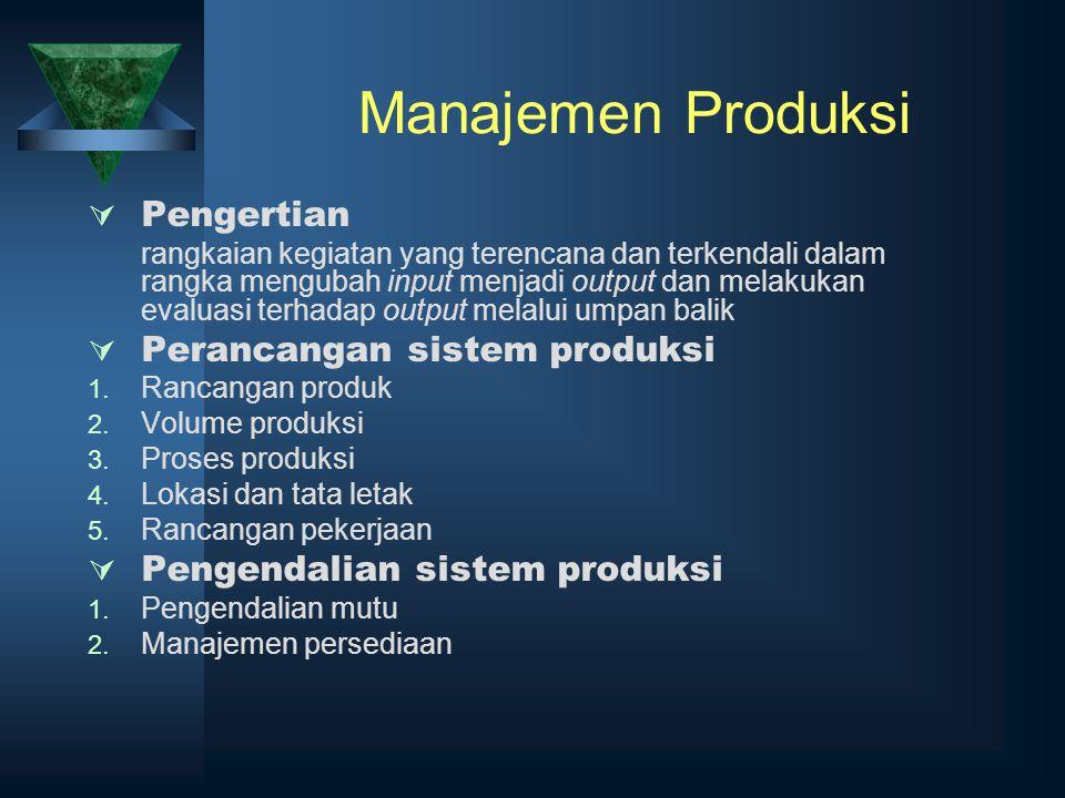 Manajemen Produksi  Pengertian rangkaian kegiatan yang terencana dan terkendali dalam rangka mengubah input menjadi output dan melakukan evaluasi ter