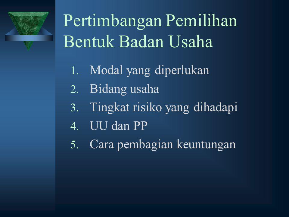 Pertimbangan Pemilihan Bentuk Badan Usaha 1. Modal yang diperlukan 2. Bidang usaha 3. Tingkat risiko yang dihadapi 4. UU dan PP 5. Cara pembagian keun