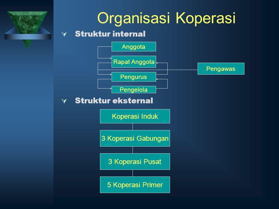 Organisasi Koperasi  Struktur internal  Struktur eksternal Anggota Rapat Anggota Pengurus Pengelola Pengawas Koperasi Induk 3 Koperasi Gabungan 3 Ko