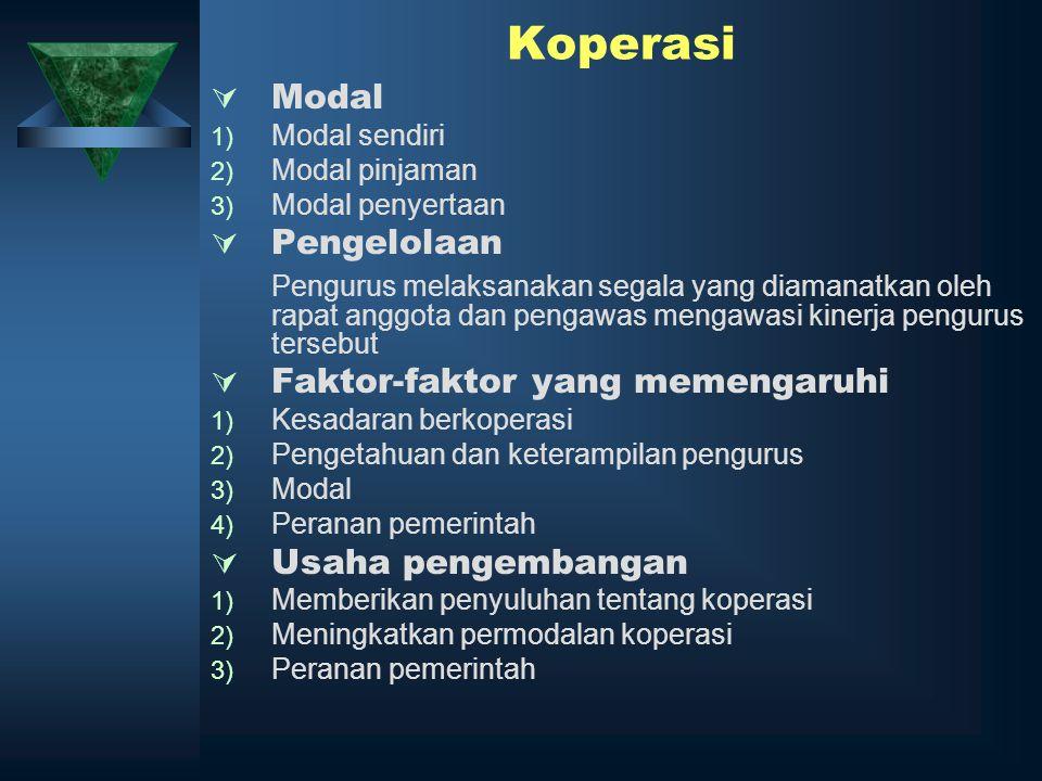 Koperasi  Modal 1) Modal sendiri 2) Modal pinjaman 3) Modal penyertaan  Pengelolaan Pengurus melaksanakan segala yang diamanatkan oleh rapat anggota