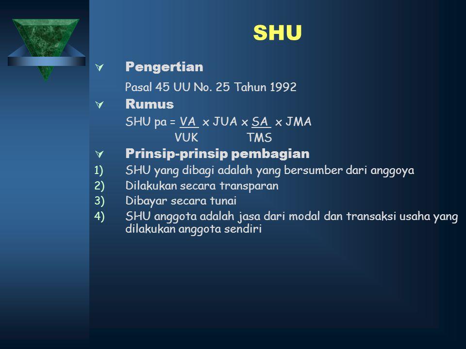 SHU  Pengertian Pasal 45 UU No. 25 Tahun 1992  Rumus SHU pa = VA x JUA x SA x JMA VUK TMS  Prinsip-prinsip pembagian 1) SHU yang dibagi adalah yang