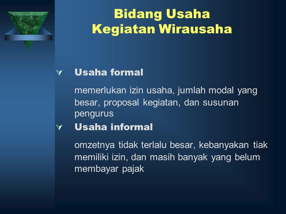 Bidang Usaha Kegiatan Wirausaha  Usaha formal memerlukan izin usaha, jumlah modal yang besar, proposal kegiatan, dan susunan pengurus  Usaha informa