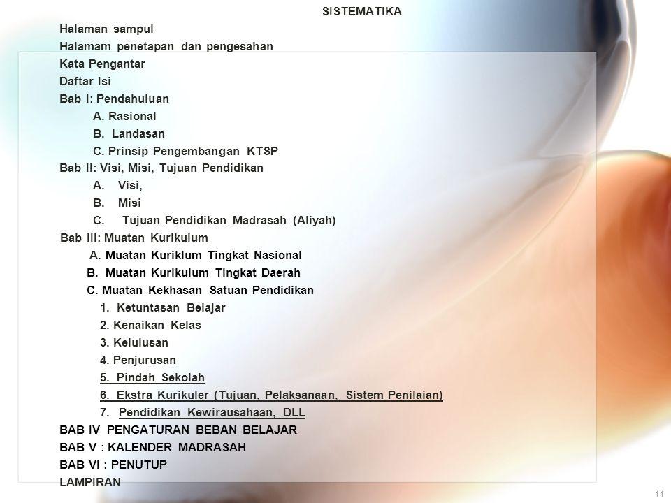 11 SISTEMATIKA Halaman sampul Halamam penetapan dan pengesahan Kata Pengantar Daftar Isi Bab I: Pendahuluan A. Rasional B. Landasan C. Prinsip Pengemb