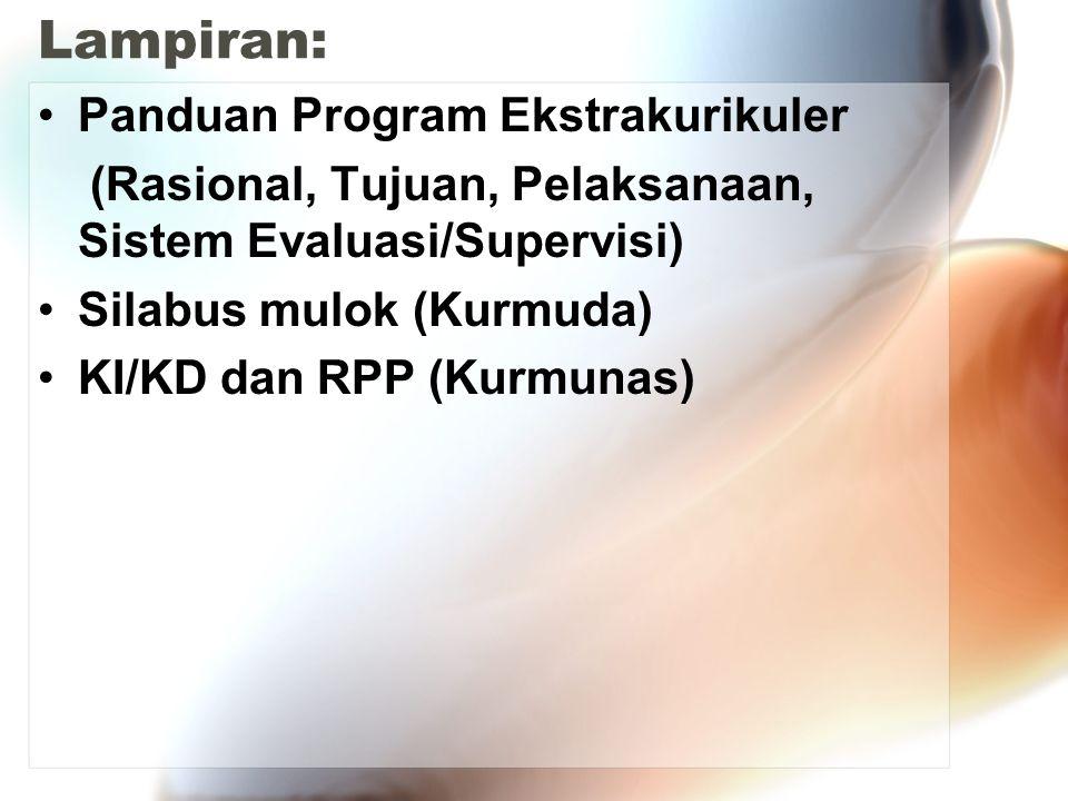 Lampiran: Panduan Program Ekstrakurikuler (Rasional, Tujuan, Pelaksanaan, Sistem Evaluasi/Supervisi) Silabus mulok (Kurmuda) KI/KD dan RPP (Kurmunas)